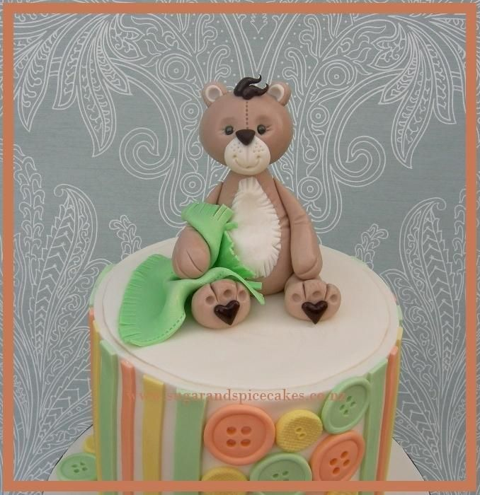 Teddy Baby Shower Cake with TUTORIAL