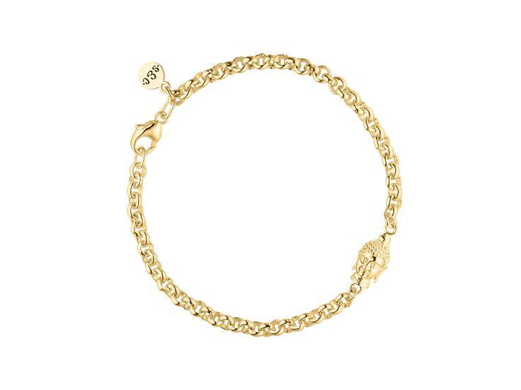 Damen Armband Buddha Sterling Silber goldplattiert