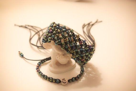 Pair of black macrame bracelets with iridescent by CrochetGrace