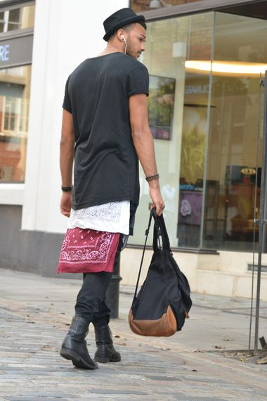 Black trousers with a layered black longline t-shirt, black boots, black rucksack and a black pork pie hat #aw14 #fashion #style #inspiration #mens