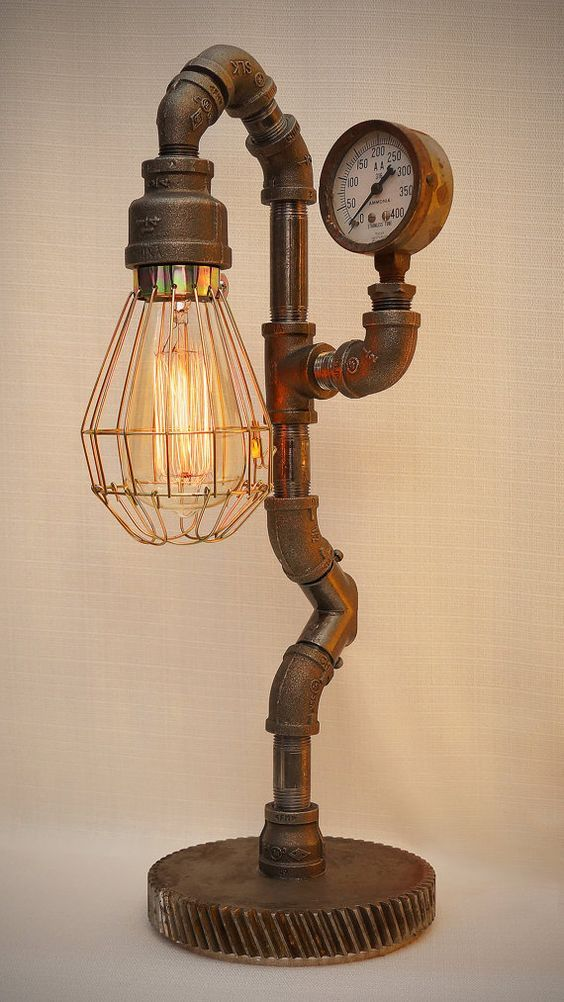 Iron Pipe Steampunk Industrial Lamp with Edison filament bulb and antique pressure gauge, heavy gear base, and sexy curves