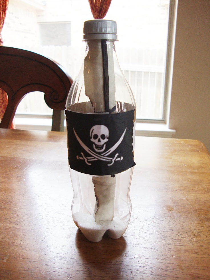 Pirate crafts    Save 2l bottles, or water bottles to create..  TREASURE MAP (craft 1)  BOTTLE (craft 2)