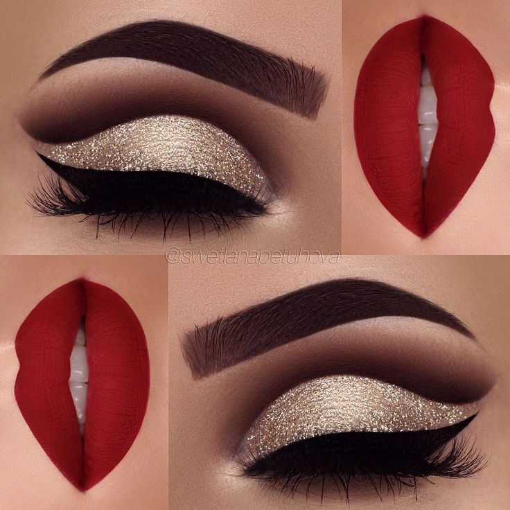 """posted a similar look a week ago but this gold eye and red lip gives me such an Christmas feeling and I just had to share it with you ❤️✨ Brows: @anastasiabeverlyhills waterproof creme color in """"sable"""" Eyeshadows: @anastasiabeverlyhills burnt orange, fudge, noir in my crease and amber on my lid Glitter: @_glittereyes_ Liner: @tartecosmetics tarteist clay paint liner Lips: @toofaced lady balls liquid lipstick"""