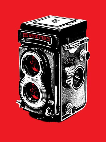Black, white, red: camera. White Stripes poster by Rob Jones