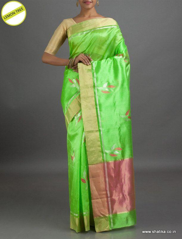 Lemon Tree Cheerful Designer #ChanderiSilkSaree