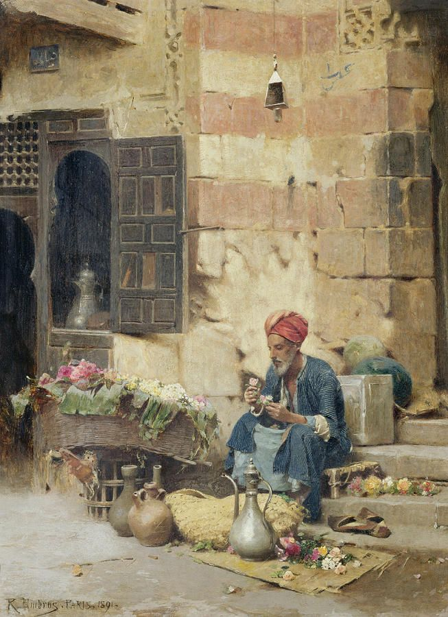 Raphael von Ambros - The Flower Seller, 1891 (panel)