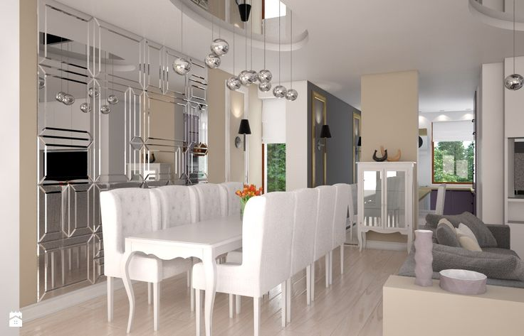 kryształowe lustra w jadalni - zdjęcie od Beautiful Minds Projektowanie Wnętrz - Jadalnia - Styl Glamour - Beautiful Minds Projektowanie Wnętrz