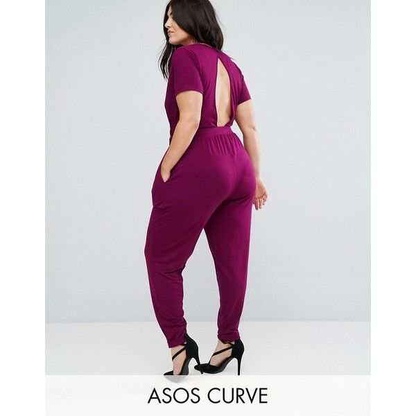 ASOS CURVE Wrap Jumpsuit with Short Sleeve ($39) ❤ liked on Polyvore featuring jumpsuits, plus size, purple, party jumpsuits, v neck jumpsuit, short sleeve jumpsuit, purple jumpsuits and asos curve jumpsuit