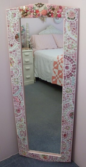 Fabulous Large Wall Mirror Shabby Pink RosesChina Mosaic-SOLD