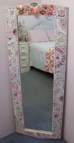 Fabulous Large Wall Mirror Shabby Pink RosesChina Mosaic-SOLD