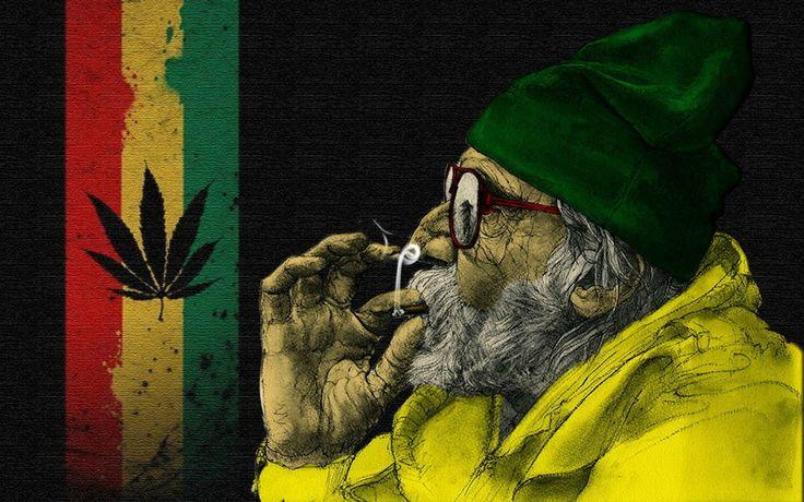 Old Man Smoking Weed | Art Wallpaper HD