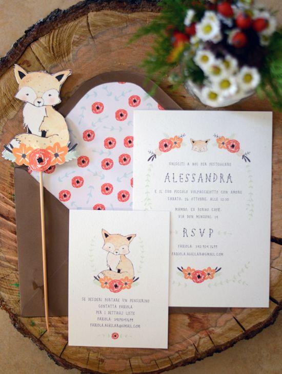 {Life} My little fox baby shower Invitation by Kelli Murray