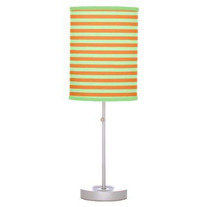 Soft Green and Orange Stripes Desk Lamp - pattern sample design template diy cyo customize