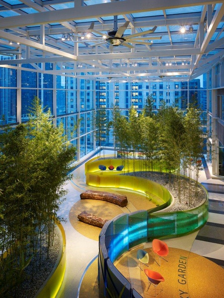 Senior Sem Idea: Use of Healing Spaces in Pediatric Healthcare. This garden at Children's in Chicago includes bamboo trees, an interactive wall that changes colors as people walk by and carved benches made from trees planted by Frederick Law Olmsted, designer of the famed Central Park.
