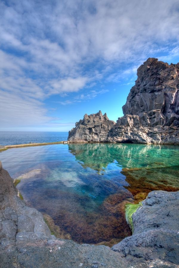 Portugal · Madeira · Seixal · Rockpool · Blue · Reflect · Travel · Adventure · Tourist Information · Sky · Cloudy · Cotton · Blue · Rocks · Water