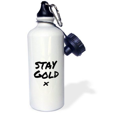 3dRose Stay Gold quote meaning be fresh, true to yourself and appreciate life, Sports Water Bottle, 21oz