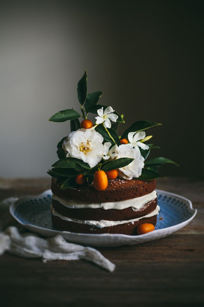 brown butter pumpkin cake with whipped cream cheese and honey