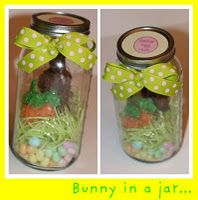 All edible easter decor in a mason jar. This would be so cute to add to a basket!! Or just sit it somewhere for a sweet decoration!!