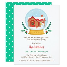 Cosy Cottage Snowman Snow Globe Christmas Party Card