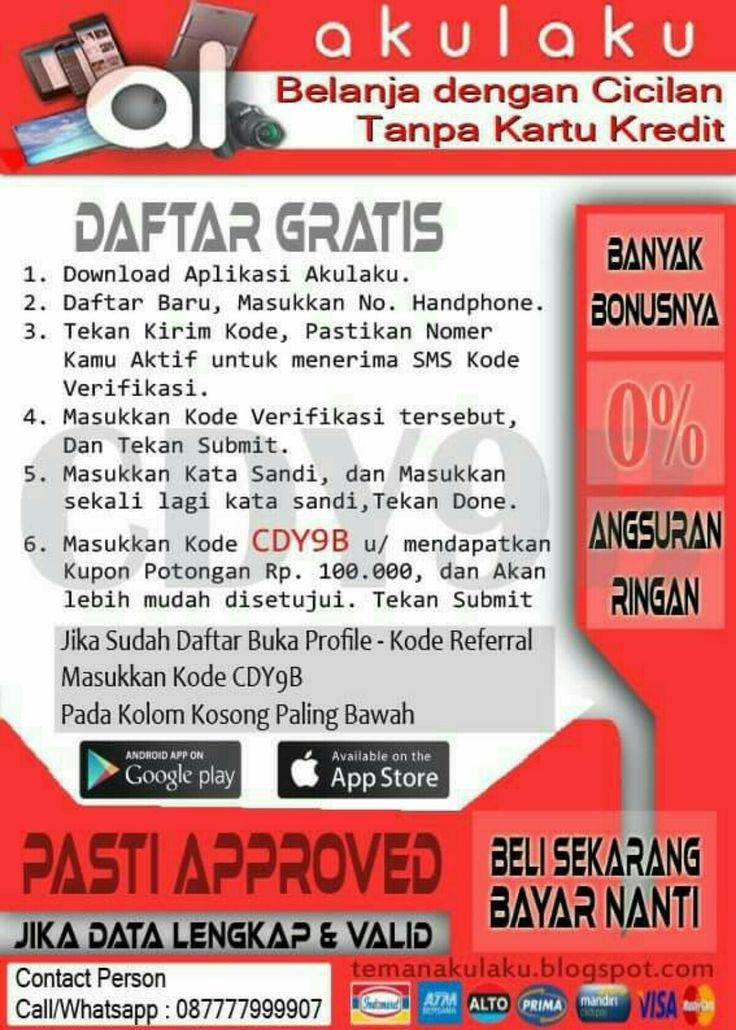 Daftar AkuLaku Indonesia ➡ Cicilan Tanpa Kartu Kredit ➡ Tanpa Survey Kerumah ➡ Tanpa BI Checking ➡ Gratis Pendaftaran ➡ Syarat Mudah ➡ Proses Verifikasi 1x24jam (hanya via Telp)  Daftar Lihat Gambar   hub saya di : 087777999907 (wa only)