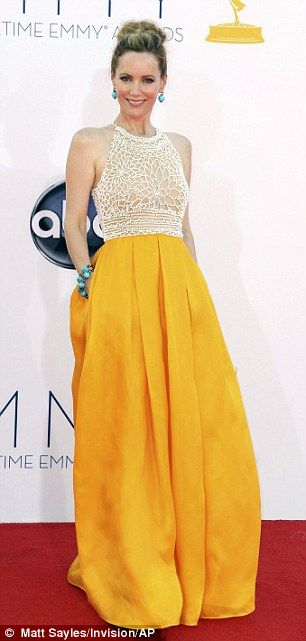 Stone age look: Knocked Up star Leslie Mann's vibrant two-in-one gown