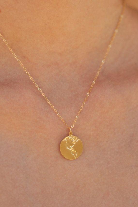 Gold Earth Necklace  Globe Necklace  World by meytalbarnoy on Etsy