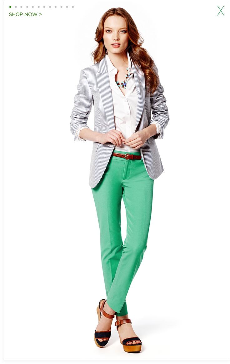 I'd LOVE a seersucker jacket! The green pants are a lot of fun too.  I'd also love a fitted white shirt, but I find that buttons are difficult with my chest size.     Women's Apparel: Pants, Dresses, Jeans, Sweaters, Suits, Skirts, Blouses & Jackets | Banana Republic