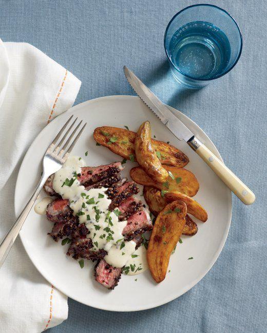 Steak au Poivre with Roasted Fingerling Potatoes