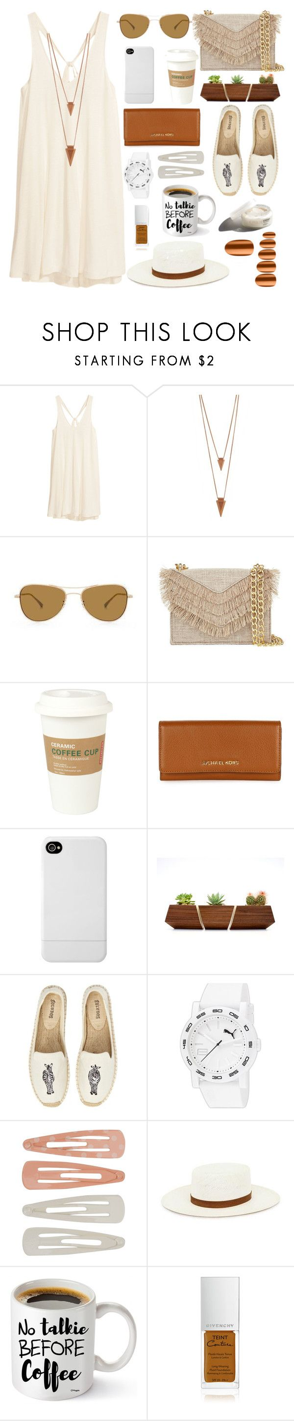 """""""Summer breeze"""" by lidia-solymosi ❤ liked on Polyvore featuring H&M, Jules Smith, Oliver Peoples, Cynthia Rowley, Kikkerland, Michael Kors, Incase, Soludos, Puma and Forever 21"""