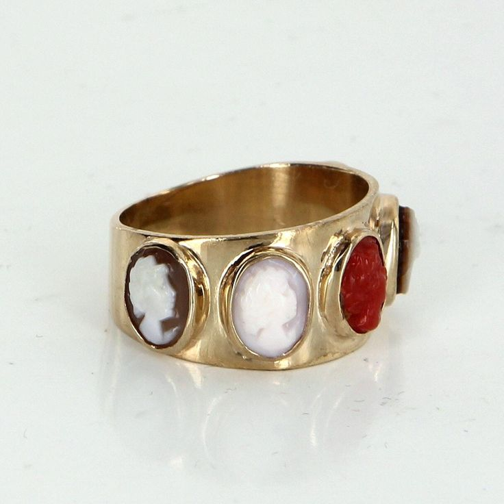 5 Cameo Band Pinky Ring Vintage 14 Karat Yellow Gold Estate Fine Jewelry Heirloom 4