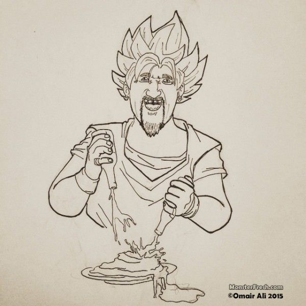 It is a graphic of Effortless Guy Fieri Drawing