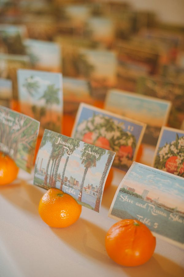 orange inspired escort cards with vintage postcards http://www.weddingchicks.com/2013/09/20/vintage-destination-wedding/