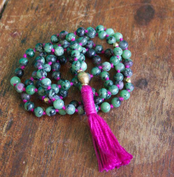 108 Mala Beads, Ruby in Zoisite, Anyolite, Prayer, Meditation, Yoga Jewelry, Knotted Buddhist Rosary