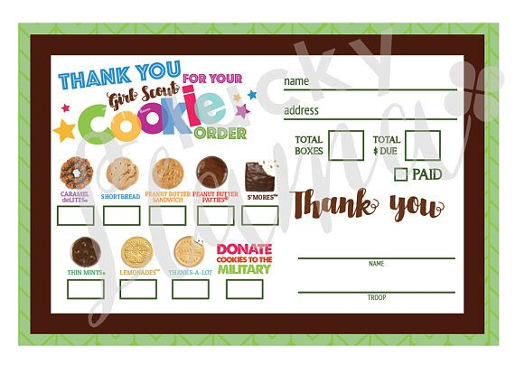 2018 Mini Girl Scout Cookie Order Form With Military Option