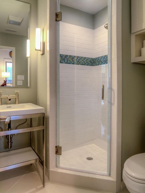 A Stall Shower Fits Perfectly In The Corner Of This Small Bathroom Bright White Tile