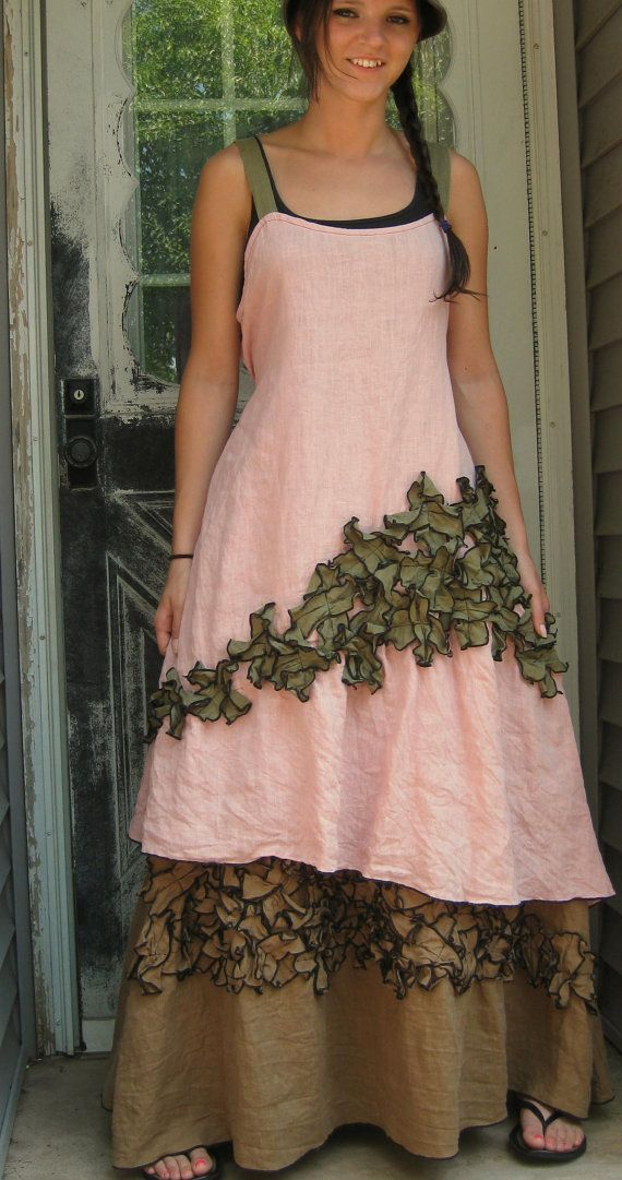 Pink and Green Linen New Mini Petals Dress M via Etsy