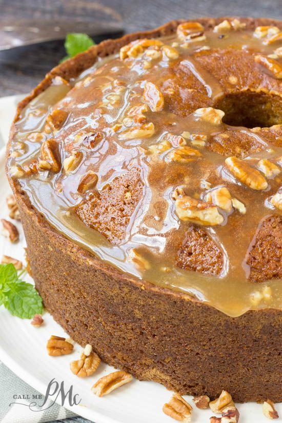 Fantastic fall cake, this Praline Glazed Pumpkin Pound Cake is always a hit!