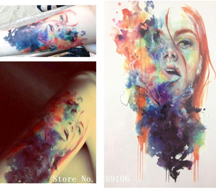 НОВОЕ ПРИБЫТИЕ 21X15 CM Красочные Девушка Временные Татуировки Наклейки Временная Body Art Водонепроницаемый #93