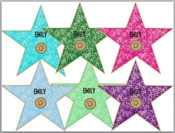 Hollywood Stars in all Colors (Editable)  Text box ready to put each child's name in. Use for Star of the week, job charts, bulletin boards, etc...  Will make the kids feel special.  :)