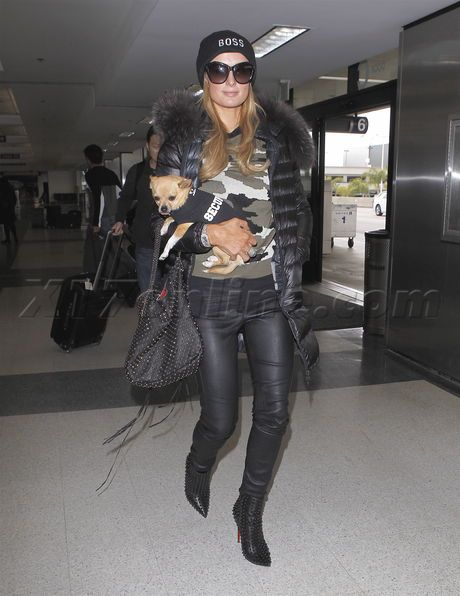 Paris Hilton blonde beanie dog puppy leather pants airport lax nyc smile