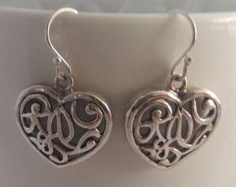 Heart Earrings, Silver Earrings Corazon, Sterling Silver Earrings, Romantic Earrings, Love Earrings, Oriental Look, Gift Idea, Gift for Her