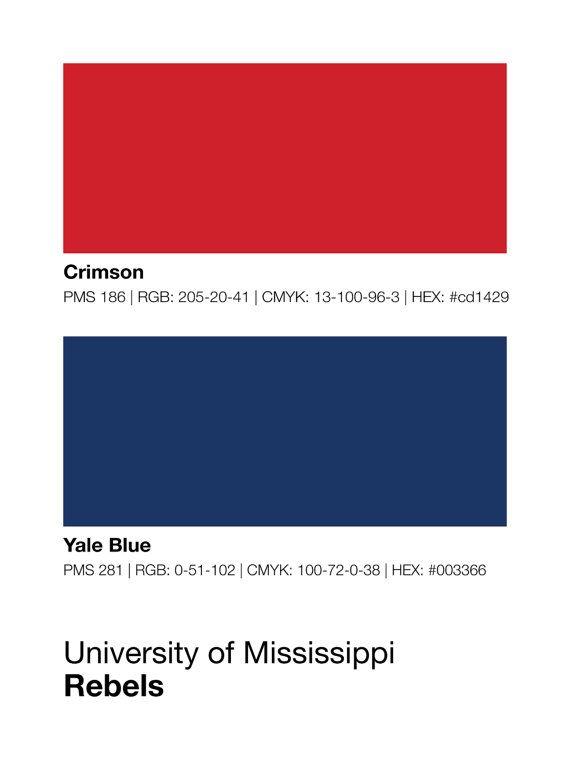 Ole Miss Runnin Rebels Pantone Poster - University of Mississippi Print, Boyfriend Gift, Wall Art, Husband Gift, College Student Gift