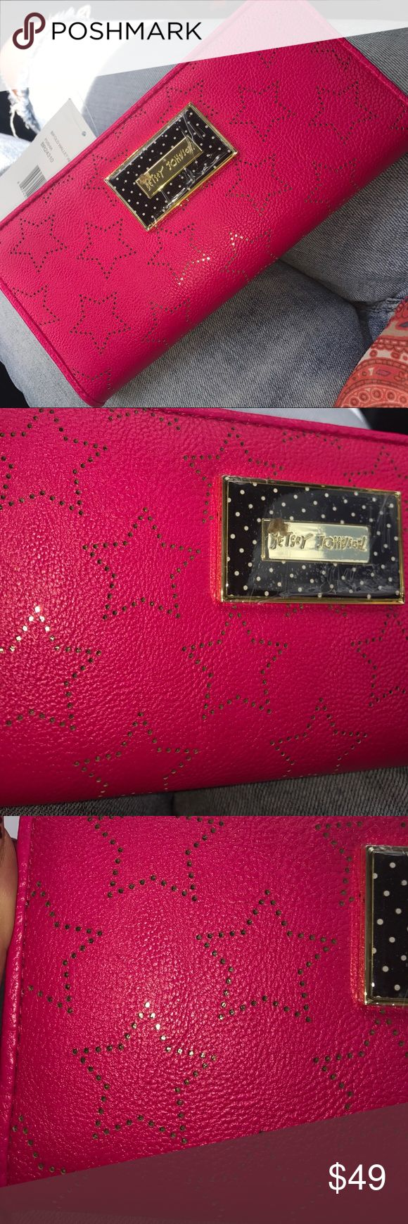 Betsey Johnson fushia stars bifold w/ insert Pink and gold betsey Johnson perforated stars bifold wallet, with faux leather insert. NWT. MSRP $58 **imperfection on plastic coating over nameplate; leaving in tact until purchased Betsey Johnson Bags Wallets