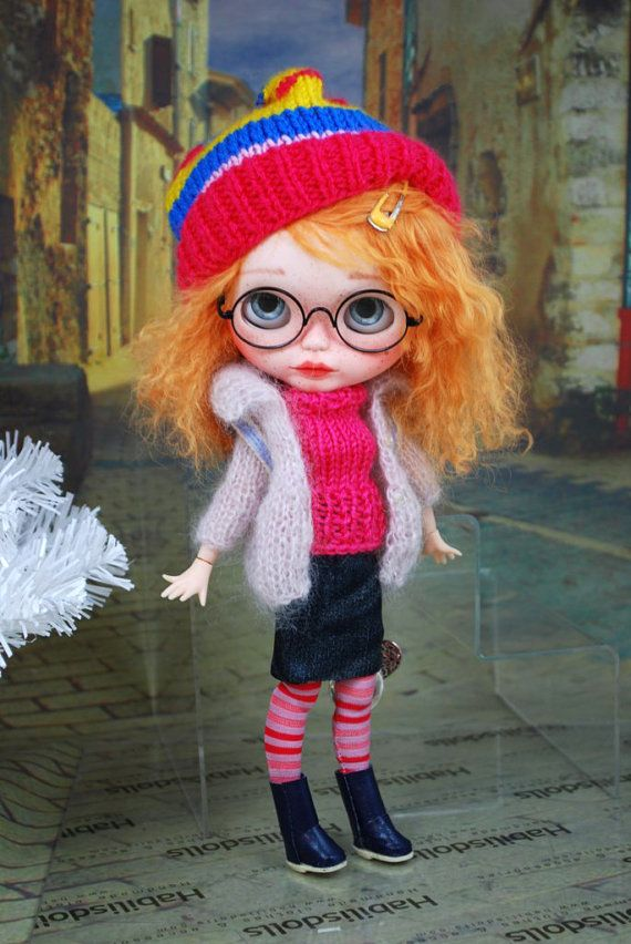 Ensemble for Blythe dolls, cardigan, knit top, skirt, socks,boots, backpack