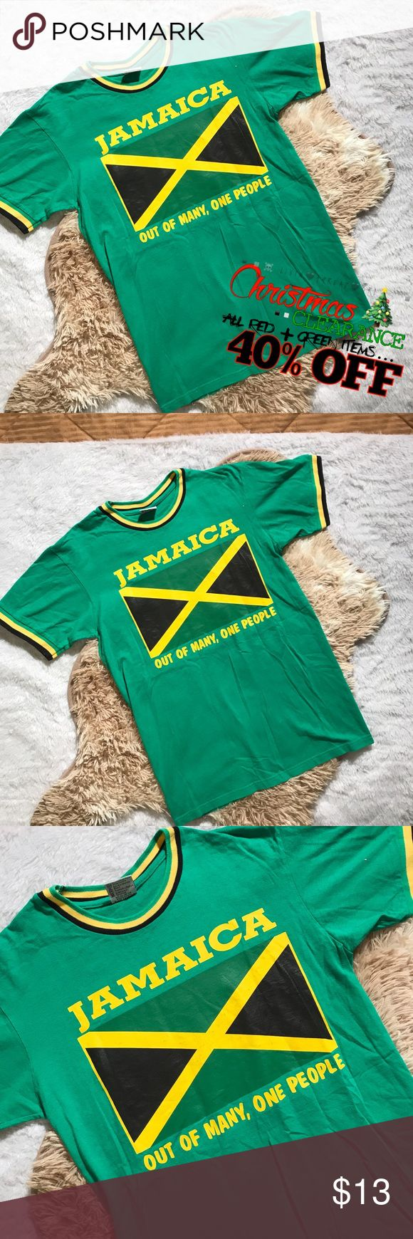 40% OFF | vtg // green jamaican flag t-shirt Vintage green Jamaican flag t-shirt  Size small, true to size Great condition; slight cracking of the flag graphic Very bright green. Very relaxed and comfortable fit. Broken in. Lots of life left.  —-  ALL RED OR GREEN ITEMS ARE 40% OFF CURRENT PRICE  ALL OTHER ITEMS ARE 20% OFF CURRENT PRICE  all discounts will be applied to current price on listing  #christmas #shopping #sale #discount #bogo #gift #present #holiday #clearance #vintage #vtg…