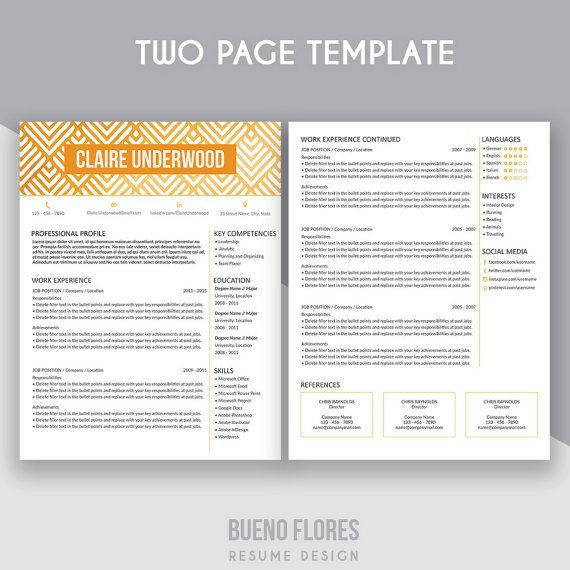 """Introducing """"Claire Underwood"""" gold version, an elegant feminine multipurpose design, which includes a two page resume/cv and cover letter. By BuenoFloresDesign"""