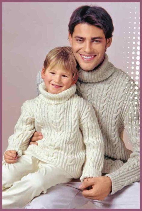 Озорные петельки: Пуловеры для папы и сына / Вязание спицами