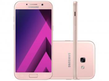 """Smartphone Samsung A7 2017 32GB Rosa Dual Chip - 4G Câm. 16MP + Selfie 16MP Tela 5.7"""" Octa Core  R$ 1.799,90 em até 10x de R$ 179,99 sem juros no cartão de crédito"""