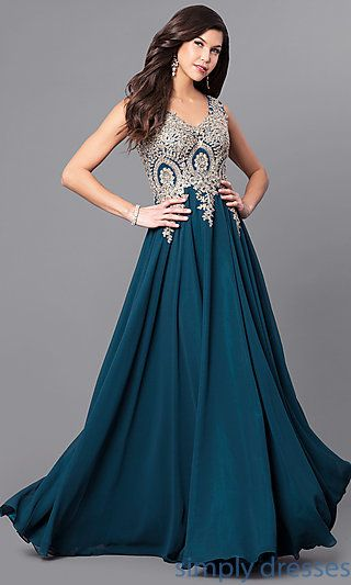 Shop chiffon long prom dresses at Simply Dresses. V-neck formal dresses under $200 with metallic beaded-lace applique bodices and chiffon skirts.