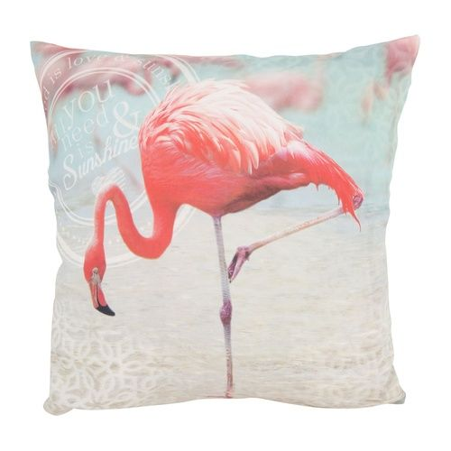 Kussen flamingo roze/blauw 45x45 cm - Xenos